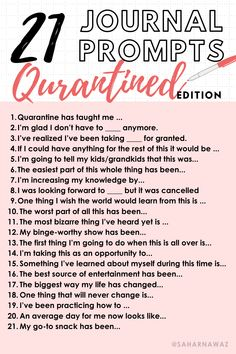21 Journal Prompts -Quarantined Edition - - This is definitely an experience like none other. Personally, I like documenting everything and what better way to do so than through journalling. Here are 21 prompts to give you a topic for the ne…. Journal Writing Prompts, Writing Tips, Middle School Journal Prompts, Journal Prompts For Teens, Journal Topics, Writing Prompts For Kids, Blog Writing, Essay Writing, Haut Routine