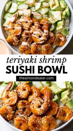Sushi Recipes, Seafood Recipes, Asian Recipes, Cooking Recipes, Healthy Recipes, Shrimp Dinner Recipes, Shrimp And Rice Recipes, Vegetarian Recipes, Shrimp Sushi Bowl