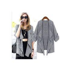 Korean Style Women 3/4 Sleeve Open Front Asymmetric Thin Coat Outwear Cardigan Coat Jacket found on Polyvore