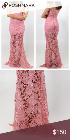 LACE DRESS Floral Embroidered Long Rose Maxi Gown Size XS. New With Tags. $98 Retail + Tax.   - Beautiful lace bodycon maxi dress featuring partial raw seams, semi-sheer skirt underlay & back zip closure.  - Recommend to pair with a lace bralette or slip underneath (not included), as top is sheer.  - Perfect for summer!  Polyester. Imported; LionessOfficial.      {Southern Girl Fashion - Closet Policy}   ✔Bundle discount: 20% off 3+ items.   ✔️ Reasonable offers are considered when submitted…