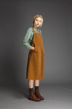 Vintage style / Cotton Velvet Jumper Dress / mustard green brown
