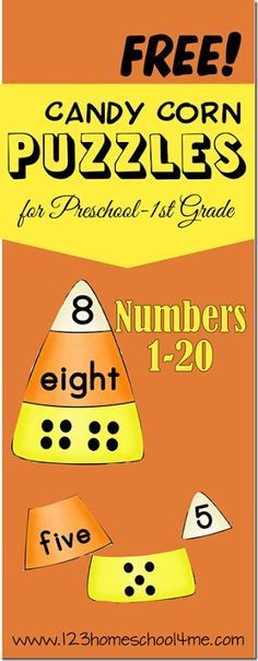 FREE Candy Corn Number Puzzles - practice counting and number words with this fun fall kids activities with 2 levels for preschool, kindergarten, 1st grade, and 2nd grade kids. (homeschool, math)