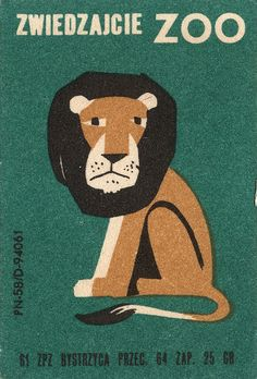 lonely lion on polish matchbox label