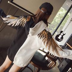 Wings Embroidered with Cap Hoodie Clothes Female Lovers Tide Fashion Brand Student Bf Wind Fashion Hooded Sweatshirts Hoodies Custom Clothes, Diy Clothes, Clothes For Women, Diy Fashion, Fashion Brand, Fashion Outfits, Angel Outfit, Painted Clothes, Alternative Fashion