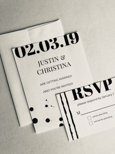 Invitation Suite Design from Created by Christa, www.createdbychrista.com. #createdbychrista #wedding #design #invitation #invitationsuite #paper #painting #painted #paint #handpainted #invite #rsvp #black #white #blackandwhite #theme #minimal #simple