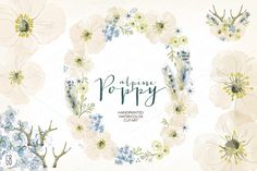 Watercolor alpine poppy wreath by GrafikBoutique on @creativemarket