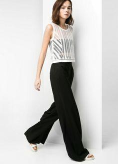 MANGO Textured palazzo trousers