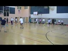 Fast action warm-up game for all grade levels in physical education.