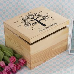 This stunning wooden box with a hinged wooden lid, personalised with a lovely…