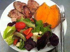 Pork tenderloin, sweet potato and mixed greens