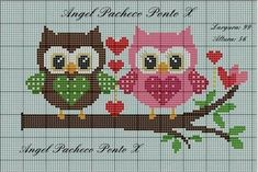 Gufetti Per Fuoriporta Schema Punto Croce - Diy Crafts - Bobcik - Diy Crafts Cross Stitch Owl, Cat Cross Stitches, Cross Stitch Borders, Cross Stitch Animals, Cross Stitch Flowers, Cross Stitch Designs, Cross Stitching, Cross Stitch Embroidery, Embroidery Patterns