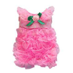 Elegant Rose Pink Dog Dress for Dog Clothes Fashion Dog Shirt Pet Dress,M
