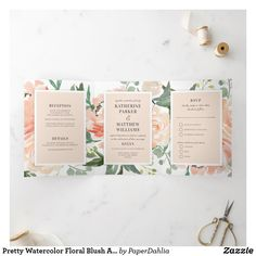 Shop Pretty Watercolor Floral Blush All-In-One Wedding Tri-Fold Invitation created by PaperDahlia. Tri Fold Wedding Invitations, Wedding Invitation Design, Letter Folding, Paper Dahlia, Botanical Wedding, Floral Illustrations, Romantic Weddings, Floral Watercolor, Wedding Details