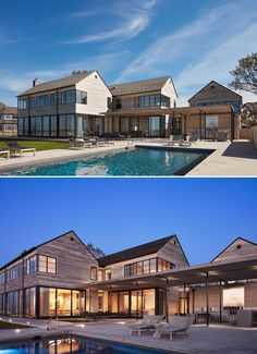A modern house with Accoya wood siding, black window frames, wood roof shingles, and a swimming pool. Wood Roof Shingles, Wood Siding, Dark Grey Walls, White Oak Floors, Black Window Frames, Lakefront Homes, Lake Cabins, Sliding Glass Door, Home Look