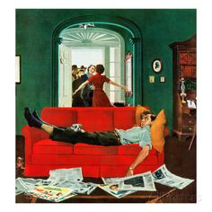 """Sunday Visitors"", February 6, 1954 Giclée-Druck von George Hughes bei AllPosters.de"