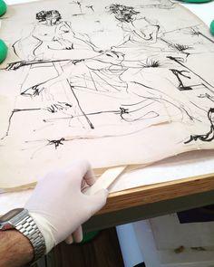 Remoção de velatura - desenho de nanquim sobre papel, atribuído a/assinado por Flavio de Carvalho - Ateliê, Arte e Restauração. #restauro #nanquim #desenho #flaviodecarvalho #modernistas