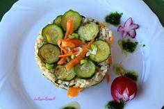 brown rice with vegetables and parsley sauce - riso integrale con ortaggi e salsa al prezzemolo