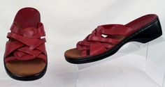 CLARKS Sandals Low Wedge Women's 7.5 Medium Red Leather Strappy Used #Clarks #Strappy