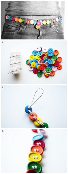 DIY Button Belt-We Like Craft. Not a vintage pattern, but button accessories fit the make do and mend spirit.