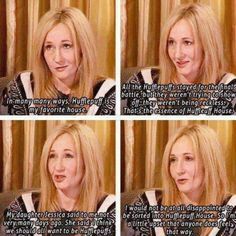 HUFFLEPUFF PRIDE! <3 She's later interviewed saying Pottermore sorted her into Hufflepuff. Just sayin' :D