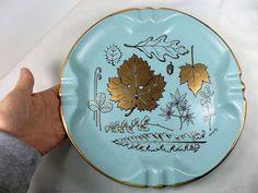 Vtg Mid Century MCM Retro Blue Gold  LARGE Ashtray  Hilda Gentry Art Pottery