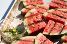 Grilled watermelon sounded strange to me at first too, but the grill caramelizes the melon's sweetness and gives it a subtle, smoky flavor.