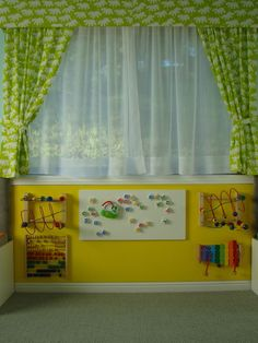 Shared Nursery And Toddler Room Design, Pictures, Remodel, Decor and Ideas - page 19 - metallic wall! Busy Wall for Lil'Sparks Nursery. Church Nursery Decor, Nursery Room, Baby Room, Sunday School Rooms, Sensory Wall, Sensory Toys, Preschool Rooms, Interactive Walls, Toddler Rooms
