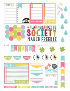 FREE March Printable Planner Sticker Freebie. Perfect for the Happy Planner this Spring.
