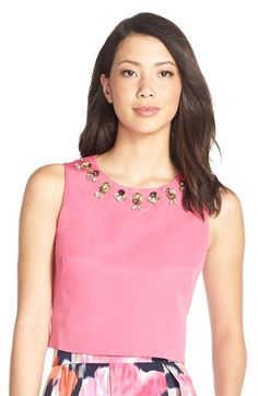 Eliza J Embellished Faille Top available at #Nordstrom