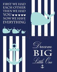 Nautical Nursery Decor, Aqua and Navy Nursery, Boy Nautical Bedroom Prints, Whale Nursery Decor, Baby Shower Gift, Nautical Kids Decor - by LJBrodock on Etsy https://www.etsy.com/listing/237286465/nautical-nursery-decor-aqua-and-navy