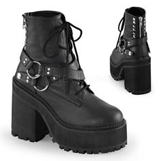 Demonia ASSAULT-101 Black Vegan Leather Ankle Boots