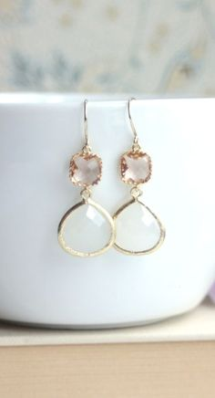 Peach Champagne Gold, White Opal Glass Framed Drop French Hook Earrings. Modern Earrings. Smokey White Opal. Bridesmaid Gifts. Peach Wedding by Marolsha.  https://www.etsy.com/listing/161925567/peach-champagne-gold-white-opal-glass?ref=shop_home_active_3