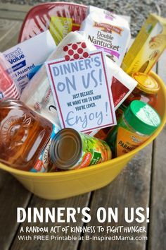 Dinner's On Us! - A Simple Random Act of Kindness Perfect for Kids and a Busy Family during the Holiday Season - with a FREE Printable Tag! at B-InspiredMama.com Sponsored