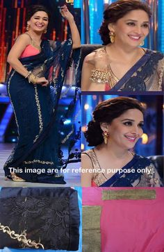 Mudhuri Dixit In Navy Blue Net With Multi and Embroidery Bollywood Saree - IG8357 USD $ 70