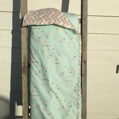 Image of Vintage mint floral cot quilt with blush/gold chevron