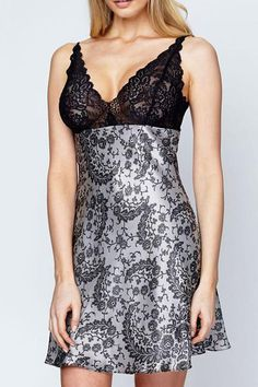 An elegant and luxurious chemise made with 100% silk and beautiful French lace. The print features a delicate lace pattern that is brought to life in this flirty A-line chemise. The stretch lace at the bust is seductive while still providing support. Adjustable straps. 100% Silk. Made in Canada.  Silk Chemise by Christine of Vancouver. Clothing - Lingerie & Sleepwear - Chemises & Slips Canada