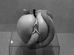Whats your thoughts?  God created us naked before the first sin... Thus how can it be shameful or disgusting? My thoughts are that the creativity in this art piece is extremely suggestive of what came out of temptation wich became sin in the garden of Eden... love it....