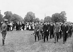 British recruits are drilled in HydePark, London, before going to the fields of war.