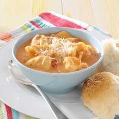 Tomato Tortellini Soup Recipe -No one will guess that you cheated by using canned tomato soup. This lovely soup tastes homemade all the way! —Sandra Fick, Lincoln, Nebraska