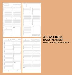 Daily Planner 4 Different Layouts ▹ for Midori Travellers notebook Regular size Printable Daily Planner 4 Different Layouts in minimal style. You can choose any layout which perfect for your lifestyle  ------------------------------------------------------------------  • SIZE • Midori Travellers notebook Regular size : 4.33x8.25 or 210x110 mm. You can print on both Letter or A4 paper size  *If you want the other size of this printable, please check out this CUSTOM SIZE listing ▹…
