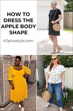 Dressing for the apple body shape can sometimes be a challenge. Here are my tips on how to dress the apple body shape and look fabulous! Apple Body Fashion, Apple Shape Fashion, Apple Body Shape Outfits, Dresses For Apple Shape, Apple Body Shape Clothes, Apple Body Type, Apple Body Shapes, Petite Outfits, Plus Size Outfits