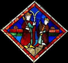 David and Saul. Stained glass, Paris, 15th century (some 13th century elements used again). From the Sainte-Chapelle of Paris, opening B (Kings).