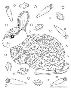 Rabbit Adult Coloring Page 9 beautiful and free printable animal adult coloring pages. Easter Coloring Pages, Adult Coloring Book Pages, Printable Adult Coloring Pages, Mandala Coloring Pages, Animal Coloring Pages, Coloring Pages For Kids, Coloring Books, Kids Coloring, Coloring Sheets