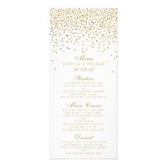 The Vintage Glam Gold Confetti Wedding Collection Personalized Rack Card