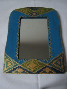 hand painted blue mirror