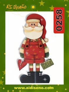 Santa en madera Christmas Art, Christmas Decorations, Xmas, Christmas Ornaments, Holiday Decor, Christmas Ideas, Tole Painting, Painting On Wood, Mod Podge On Wood
