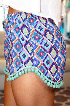 Aztec Print High Rise Shorts with Pom Pom Trim