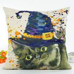 GET $50 NOW | Join RoseGal: Get YOUR $50 NOW!http://www.rosegal.com/decorative-pillows-shams/halloween-cat-witch-hat-printing-696965.html?seid=3734639rg696965