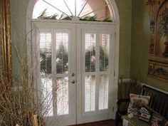 in Louver Traditional Shutters - Pair with Center Divider Rail Mounted on French Doors. French Door Curtain Panels, French Doors With Screens, Glass French Doors, French Doors Patio, Panel Blinds, Blinds For Windows, Windows And Doors, Magnetic Blinds, Traditional Shutters