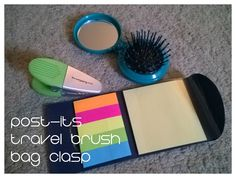 Quiet lap activities for traveling with a toddler: POST-ITS, TRAVEL BRUSH (open/close), BAG CLASP (clip on articles of clothes, child removes, repeat)